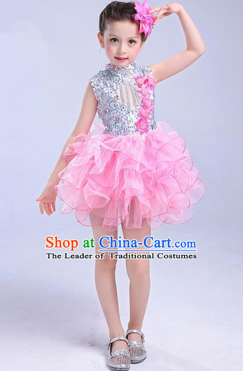 Top Grade Chinese Professional Performance Jazz Dance Costume, Children Modern Dance Pink Bubble Dress for Kids