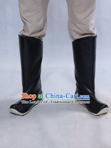 Chinese Ancient Peking Opera Officer Boots, Traditional Chinese Ancient Ming Dynasty Hanfu Leather Shoes Black Boots for Men