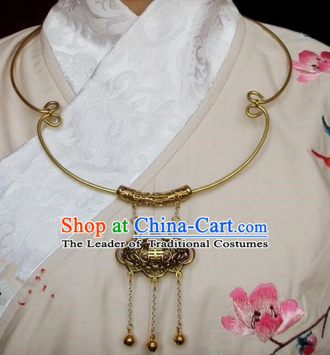 Chinese Ancient Handmade Jewelry Accessories Longevity Lock, Traditional Chinese Ancient Ming Dynasty Hanfu Necklace for Women