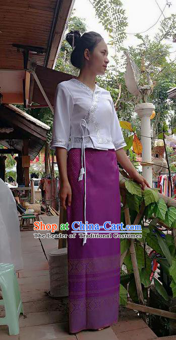 Traditional Thailand Ancient Handmade Costumes, Traditional Thai China Dai Nationality Purple Dress Clothing for Women