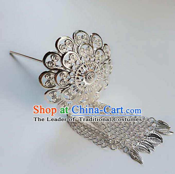 Traditional Thailand Ancient Handmade Hair Accessories Headpiece, Traditional Thai China Dai Nationality Tassel Hairpins for Women