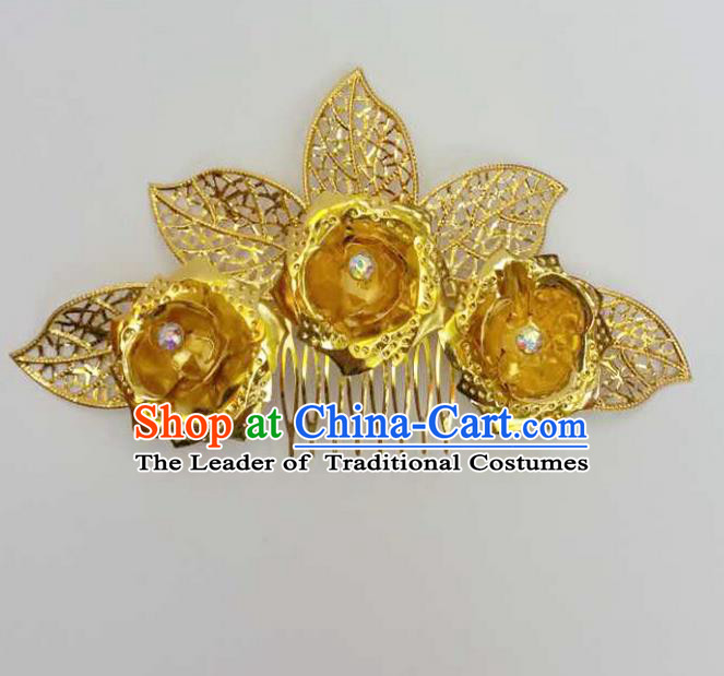 Traditional Thailand Ancient Handmade Hair Accessories Headpiece, Traditional Thai China Dai Nationality Hairpins Hair Combs for Women