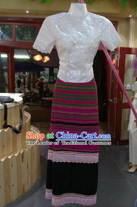 Traditional Thailand Ancient Handmade Costumes, Traditional Thai China Dai Nationality Rosy Dress Clothing for Women