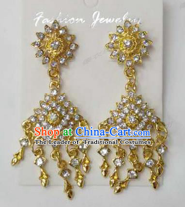 Traditional Thailand Ancient Handmade Accessories Earrings, Traditional Thai China Dai Nationality Crystal Royal Eardrop for Women