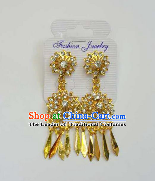Traditional Thailand Ancient Handmade Accessories Earrings, Traditional Thai China Dai Nationality Tassel Crystal Eardrop for Women