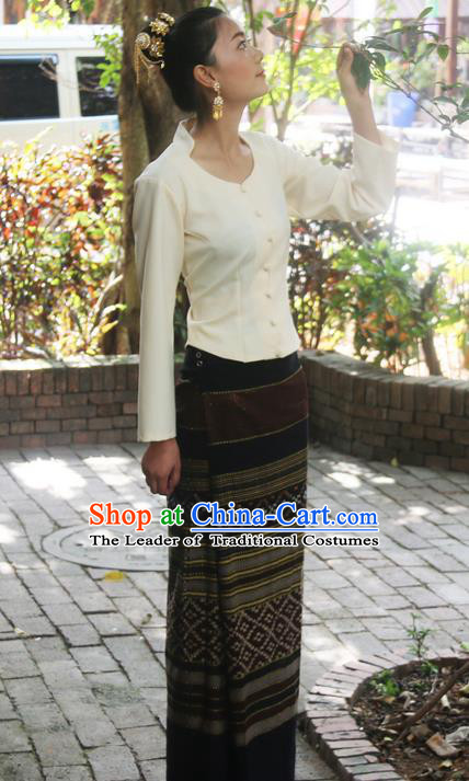 Traditional Thailand Ancient Handmade Female Costumes, Traditional Thai China Dai Nationality Dress Clothing for Women