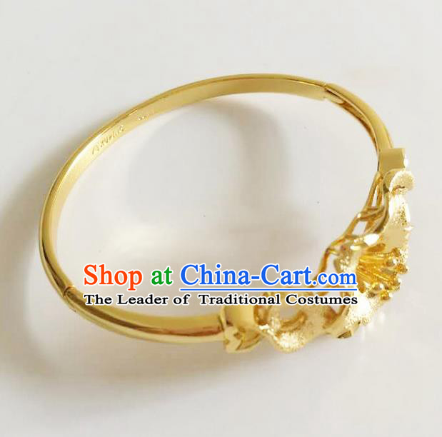 Traditional Thailand Ancient Handmade Jewelry Accessories Princess Bracelet, Traditional Thai China Dai Nationality Bangle for Women