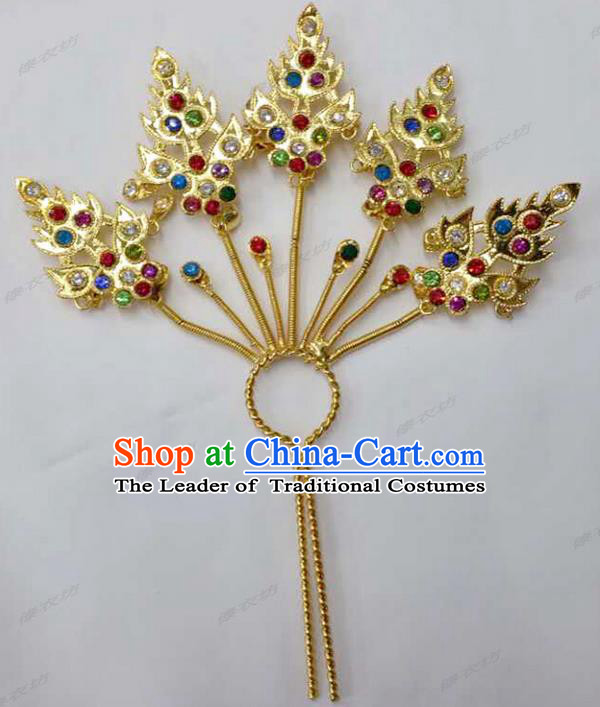Traditional Thailand Ancient Handmade Hair Accessories Headpiece, Traditional Thai China Dai Nationality Tassel Hairpins Crystal Hair Sticks for Women