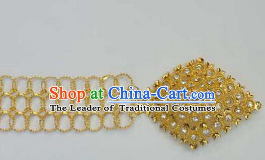 Traditional Thailand Ancient Handmade Golden Waist Chain Accessories, Traditional Thai China Dai Nationality Crystal Belts Pendant for Women
