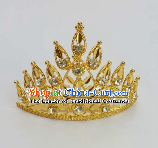 Traditional Thailand Ancient Handmade Hair Accessories, Traditional Thai China Dai Nationality Crystal Royal Crown for Women