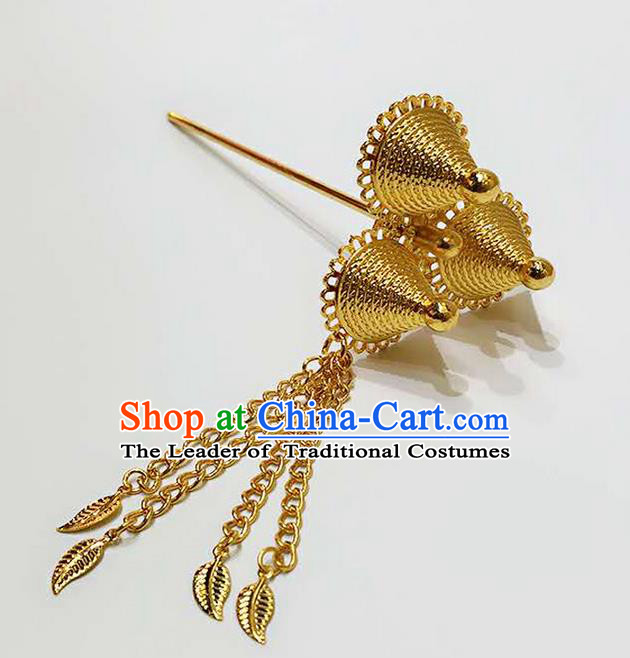 Traditional Thailand Ancient Handmade Golden Hair Accessories, Traditional Thai China Dai Nationality Hairpins Hair Stick Headpiece for Women