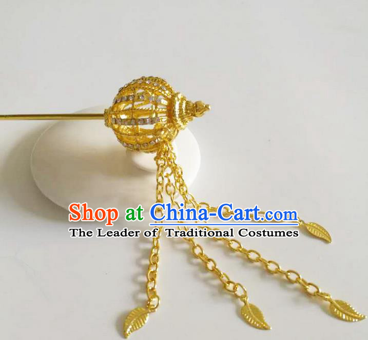 Traditional Thailand Ancient Handmade Golden Hair Accessories, Traditional Thai China Dai Nationality Hairpins Crystal Hair Stick Headpiece for Women