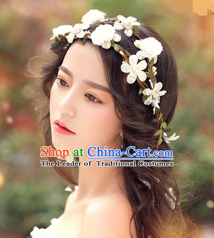 Top Grade Handmade Wedding Bride Hair Accessories, Traditional Princess White Flowers Hair Clasp Wedding Headwear for Women