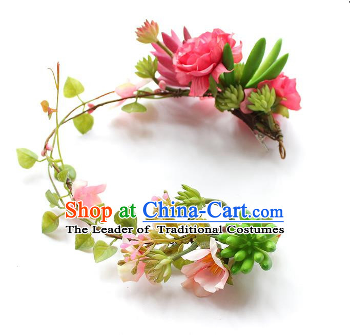 Top Grade Handmade Wedding Bride Headband, Traditional Princess Blue Flowers Hair Clasp Wedding Headwear for Women