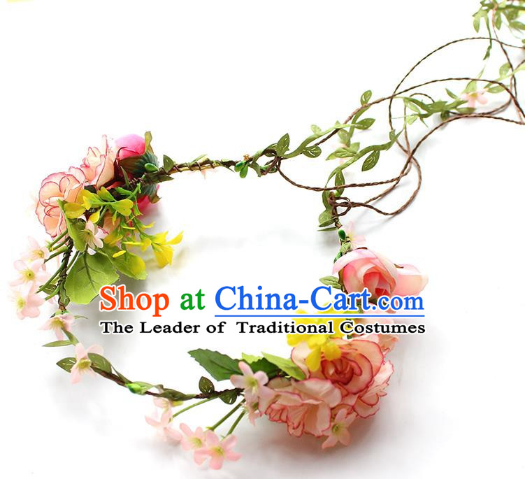 Top Grade Handmade Wedding Bride Headband, Traditional Princess Pink Flower Hair Clasp Wedding Headwear for Women