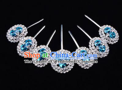 Chinese Ancient Peking Opera Head Accessories Young Lady Diva Crystal Blue Hairpins Complete Set, Traditional Chinese Beijing Opera Hua Tan Hair Clasp Head-ornaments