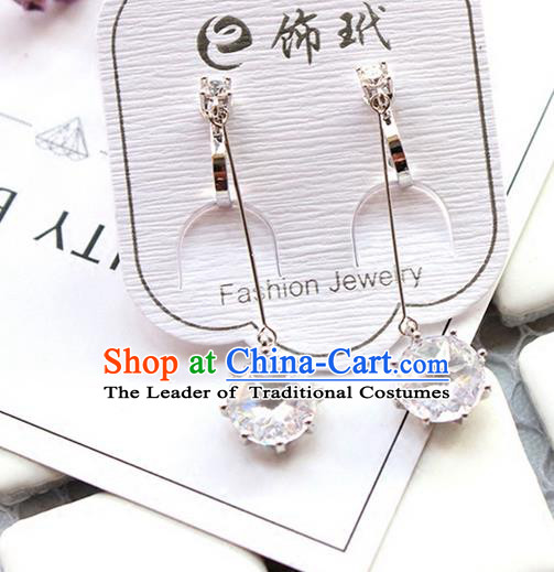 Top Grade Handmade Wedding Bride Accessories Earrings, Traditional Princess Wedding Zircon Eardrop for Women