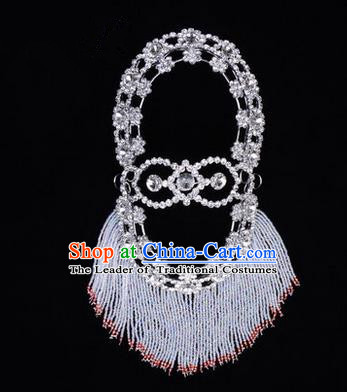 Chinese Ancient Peking Opera Head Accessories Young Lady Diva White Crystal Hairpins Back Temples Curtain, Traditional Chinese Beijing Opera Hua Tan Hair Clasp Head-ornaments