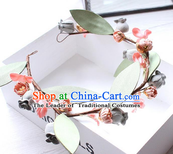 Top Grade Handmade Wedding Bride Hair Accessories Pink Flower Hair Clasp, Traditional Princess Baroque Hair Band for Women