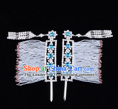 Chinese Ancient Peking Opera Head Accessories Young Lady Diva Blue Crystal Hairpins Temples Curtain, Traditional Chinese Beijing Opera Hua Tan Hair Clasp Head-ornaments