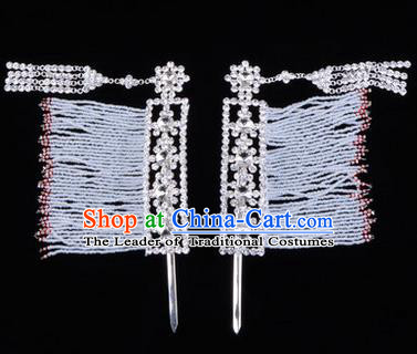 Chinese Ancient Peking Opera Head Accessories Young Lady Diva White Crystal Hairpins Temples Curtain, Traditional Chinese Beijing Opera Hua Tan Hair Clasp Head-ornaments