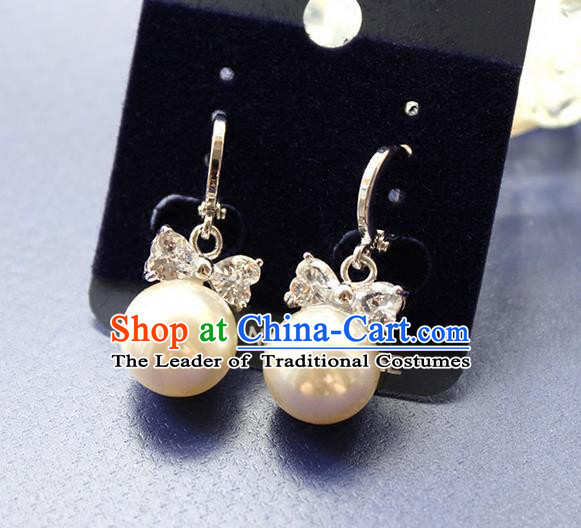 Top Grade Handmade Wedding Bride Accessories Pearl Earrings, Traditional Princess Baroque Ziron Wedding Eardrop for Women
