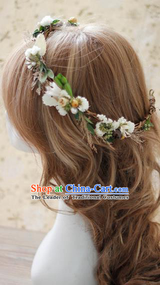 Top Grade Handmade Wedding Bride Hair Accessories, Traditional Princess Flowers Circle Hair Clasp Headpiece for Women