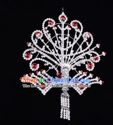 Chinese Ancient Peking Opera Head Accessories Diva Red Tassel Crystal Phoenix Hairpins Step Shake, Traditional Chinese Beijing Opera Princess Hua Tan Hair Clasp Head-ornaments