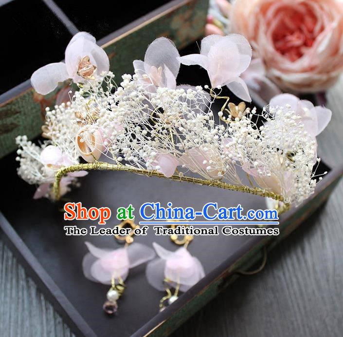 Top Grade Handmade Wedding Bride Hair Accessories Headwear and Earrings, Traditional Baroque Queen Pink Silk Royal Crown Wedding Headpiece for Women