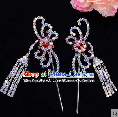 Chinese Ancient Peking Opera Head Accessories Diva Red Colorful Crystal Hairpins Tassel Step Shake, Traditional Chinese Beijing Opera Princess Hua Tan Hair Clasp Head-ornaments