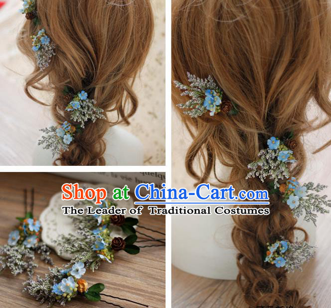 Top Grade Handmade Wedding Bride Hair Accessories Hairpins Complete Set, Traditional Princess Blue Flowers Wedding Headwear for Women