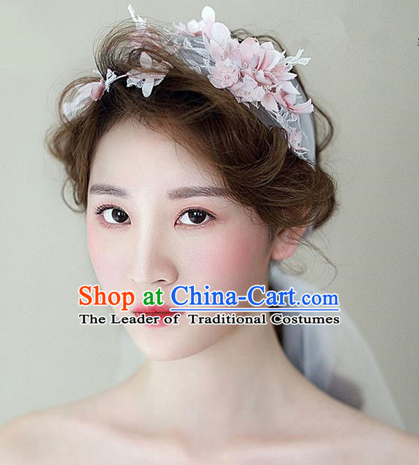 Top Grade Handmade Wedding Bride Hair Accessories Pink Flowers Hair Band, Traditional Princess Wedding Headwear for Women