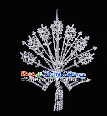Chinese Ancient Peking Opera Head Accessories Diva Crystal Phoenix Hairpins White Tassel Step Shake, Traditional Chinese Beijing Opera Princess Hua Tan Hair Clasp Head-ornaments