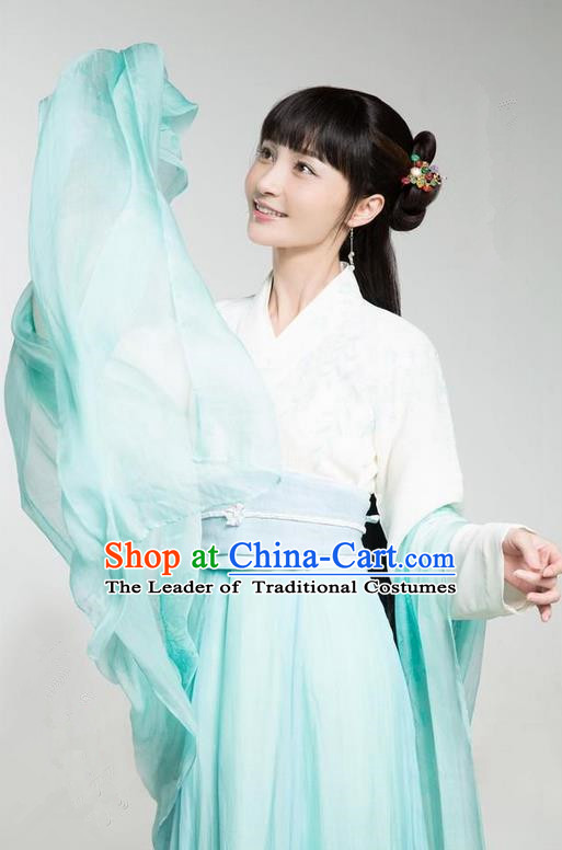Traditional Ancient Chinese Northern and Southern Dynasties Princess Peri Costume, The Entangled Life of Qingluo Young Lady Dress Clothing and Headpiece Complete Set
