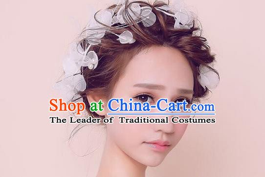 Top Grade Handmade Wedding Bride Hair Accessories Headwear, Traditional Princess Baroque Silk Hair Clasp Headpiece for Women
