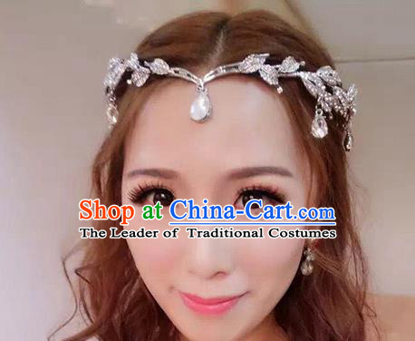Top Grade Handmade Wedding Bride Hair Accessories Forehead Ornament, Traditional Princess Wedding Crystal Headwear for Women