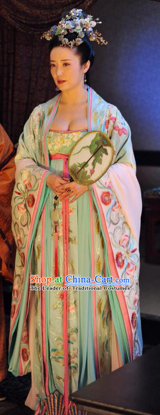 Traditional Ancient Chinese Imperial Consort Costume, Elegant Hanfu Clothing Chinese Tang Dynasty Imperial Concubine Embroidered Dress Clothing for Women