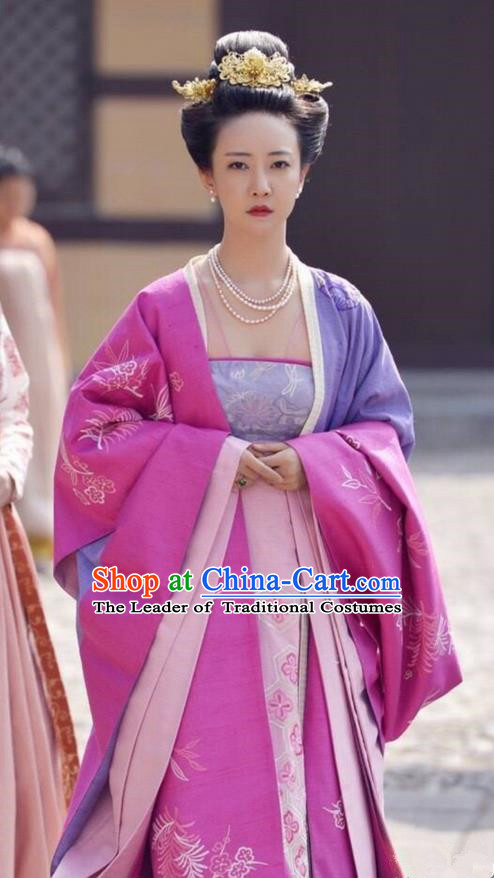 Traditional Ancient Chinese Imperial Princess Costume and Headpiece Complete Set, Elegant Hanfu Clothing Chinese Tang Dynasty Imperial Concubine Embroidered Dress Clothing for Women