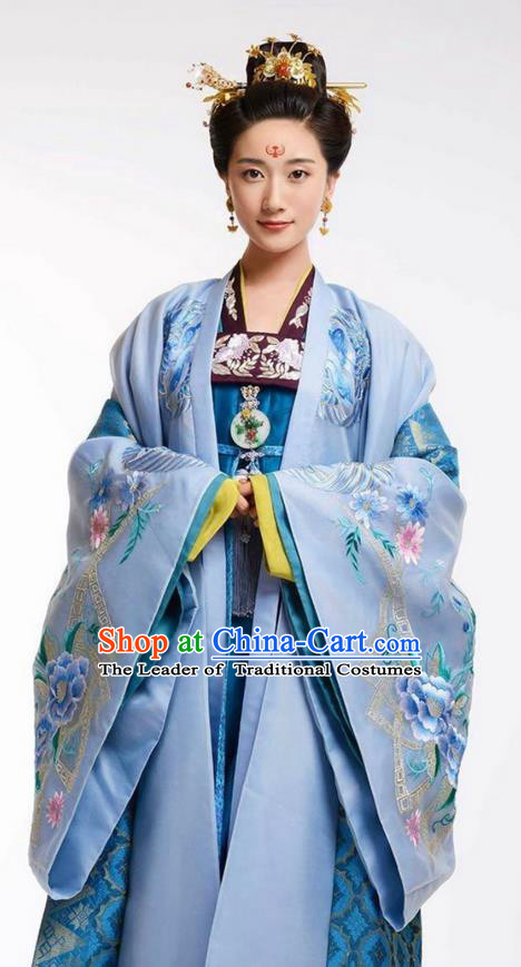 Traditional Ancient Chinese Imperial Princess Costume and Headpiece Complete Set, Elegant Hanfu Clothing Chinese Tang Dynasty Noblewoman Embroidered Dress Clothing
