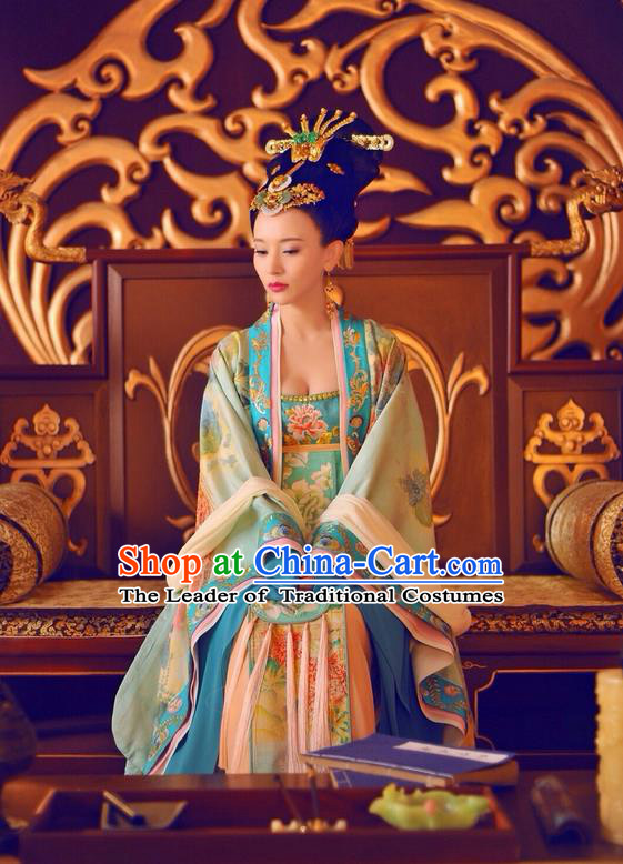 Traditional Ancient Chinese Imperial Concubine Costume and Headpiece Complete Set, Elegant Hanfu Clothing Chinese Tang Dynasty Palace Lady Embroidered Dress Clothing