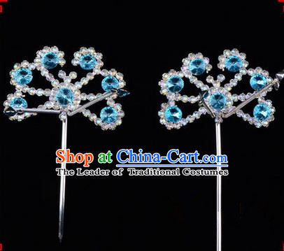 Chinese Ancient Peking Opera Hair Accessories Young Lady Diva Blue Crystal Beads Hairpins, Traditional Chinese Beijing Opera Hua Tan Head Ornaments Hair Clasp