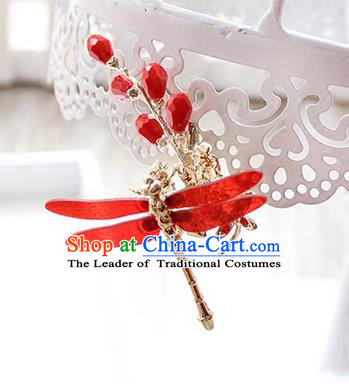 Top Grade Handmade Wedding Bride Hair Accessories Dragonfly Hair Claws, Traditional Princess Baroque Hair Clips Headpiece for Women