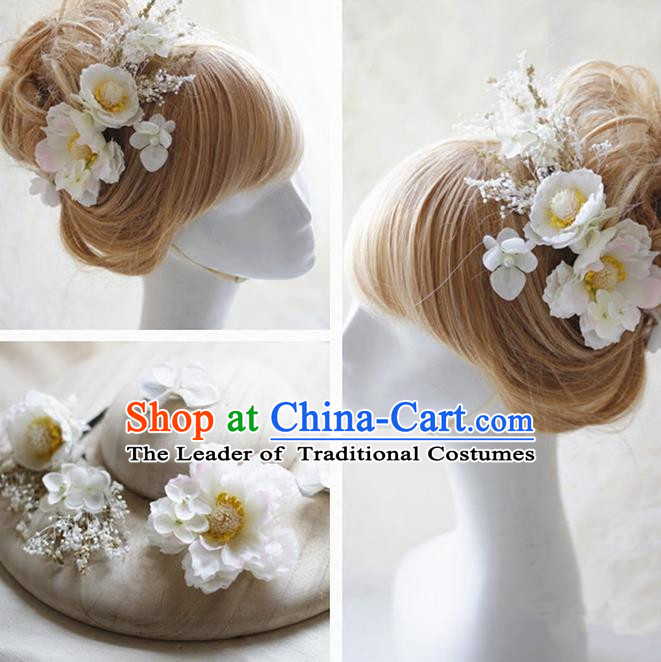 Top Grade Handmade Wedding Bride Hair Accessories White Silk Flower Hair Stick Complete Set, Traditional Princess Baroque Hairpins Headpiece for Women