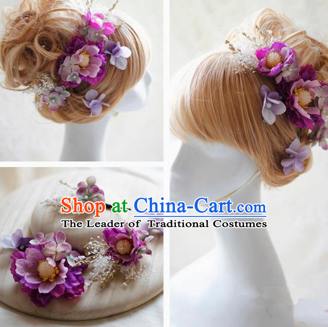 Top Grade Handmade Wedding Bride Hair Accessories Purple Silk Flower Hair Stick Complete Set, Traditional Princess Baroque Hairpins Headpiece for Women