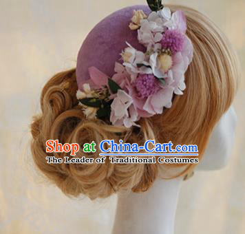 Top Grade Handmade Wedding Bride Hair Accessories Purple Flowers Hats, Traditional Princess Baroque Top Hat Headpiece for Women