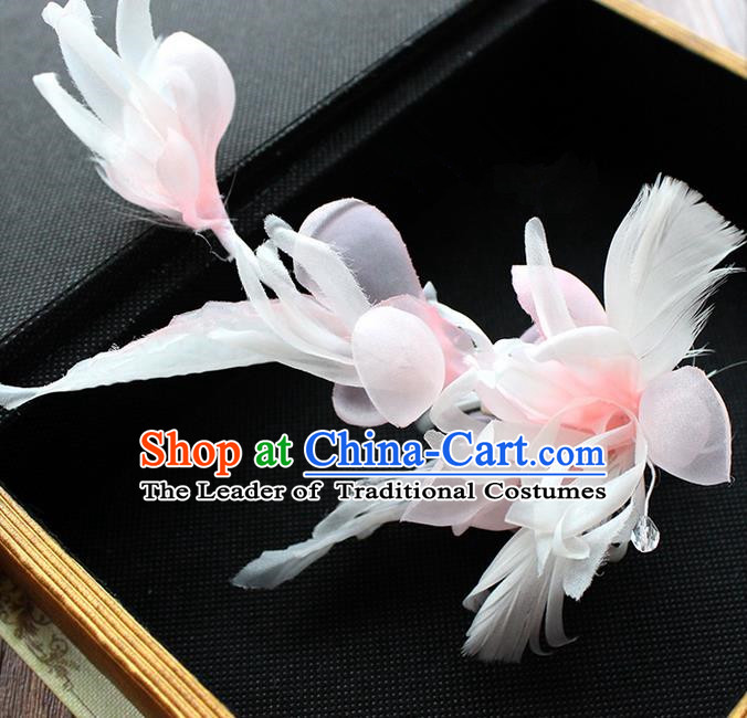 Top Grade Handmade Wedding Bride Hair Accessories Pink Flower Hairpin, Traditional Princess Baroque Hair Stick Headpiece Hairpins for Women
