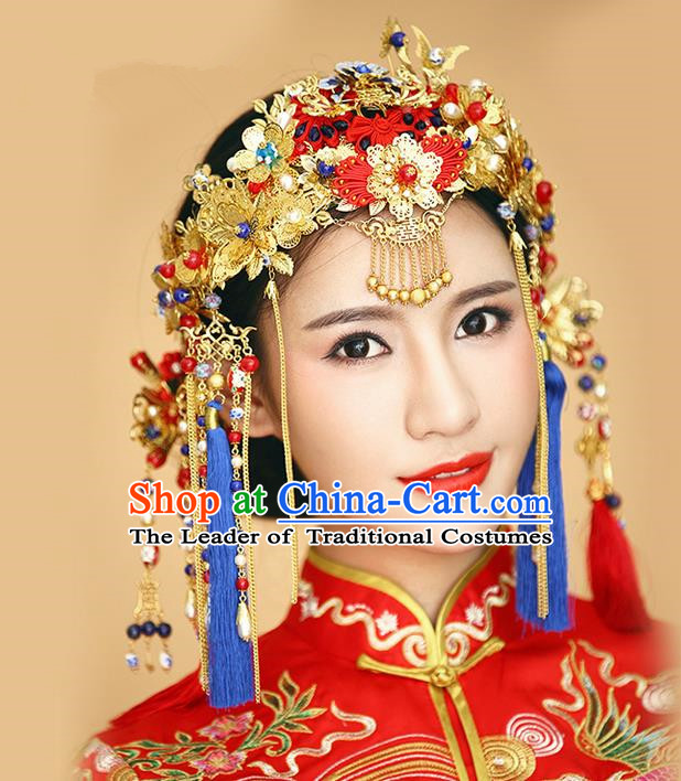 Top Grade Chinese Handmade Wedding Hair Accessories Complete Set, Traditional China Xiuhe Suit Bride Phoenix Coronet Hairpins Frontlet Headdress for Women