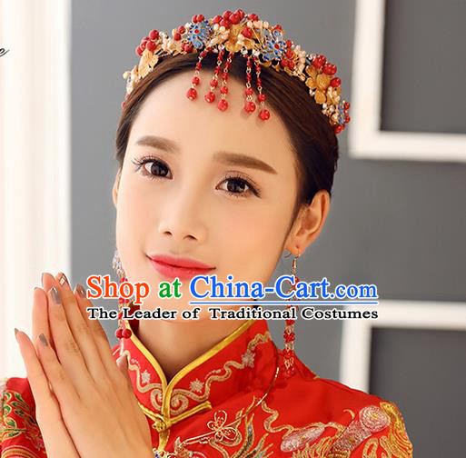 Top Grade Chinese Handmade Wedding Hair Accessories Forehead Ornament, Traditional China Xiuhe Suit Phoenix Coronet Bride Tassel Hairpins Hair Comb for Women