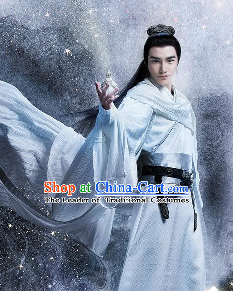 Traditional Ancient Chinese Swordsman Costume and Handmade Headpiece Complete Set, Elegant Hanfu Clothing Chinese Kawaler Clothing for Men