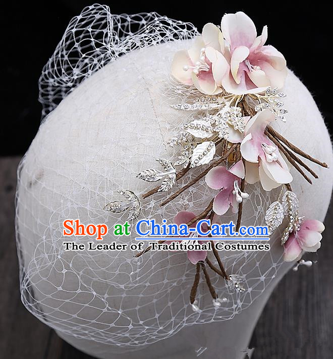 Top Grade Handmade Wedding Hair Accessories Bride Pink Flower Veil Hair Stick, Traditional Baroque Princess Headband Headpiece for Women